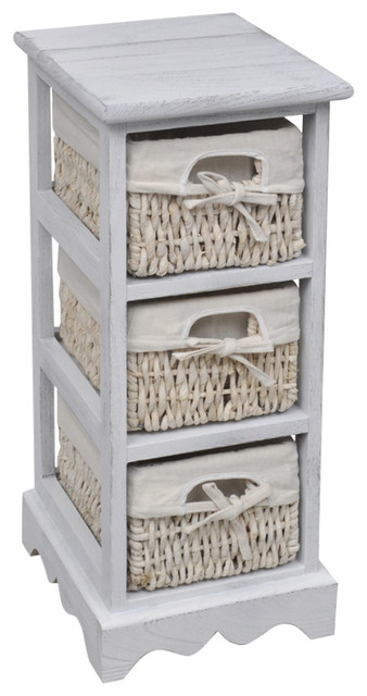 Vidaxl Wooden Storage Rack 3 Weaving Baskets White