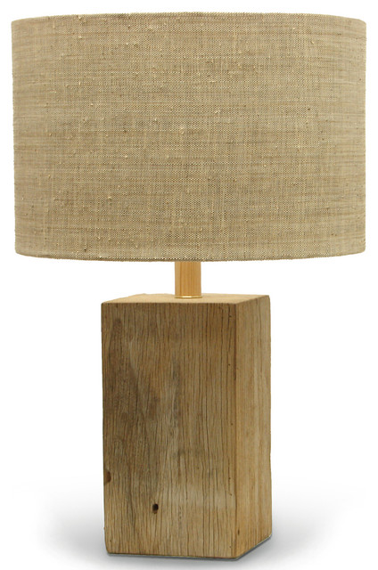 Montauk Coastal Beach Recycled Square Wood Lamp Beach Style Table Lamps