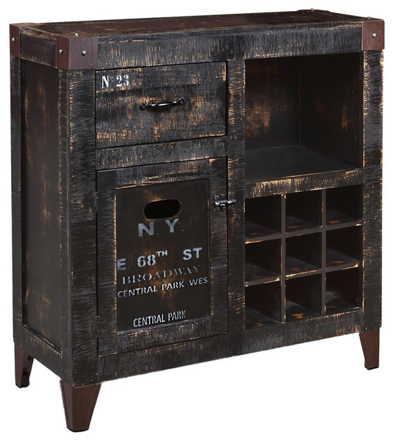 Sunset Trading Graphic 9 Bottle Wine Cabinet - Industrial - Wine And Bar Cabinets - by Sunset ...