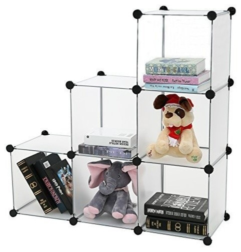 DIY Bookcase Media Storage Standing Shelf Storage Cabinet Cube of 6