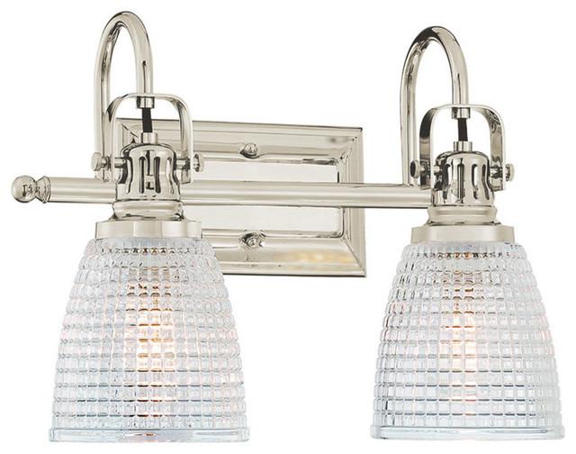 Oakley 2-Light Bathroom Vanity Fixture Beehive Glass, Brushed Nickel.