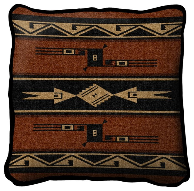 Southwest Geometric Black And Russet Pillow.