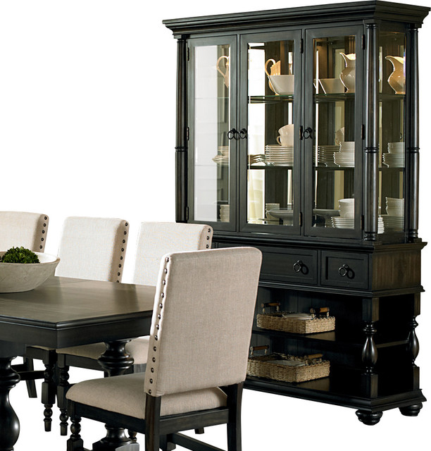 steve silver leona buffet with hutch in dark hand rubbed - Steve Silver Furniture