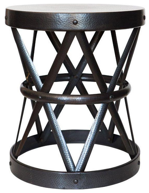 Round Hammered Black Iron Side Table By Arteriors   $895 Est. Retail   $525  On