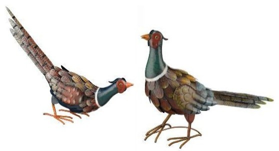Handcrafted Pheasant Birds Metal Garden Statuary Set Of 2