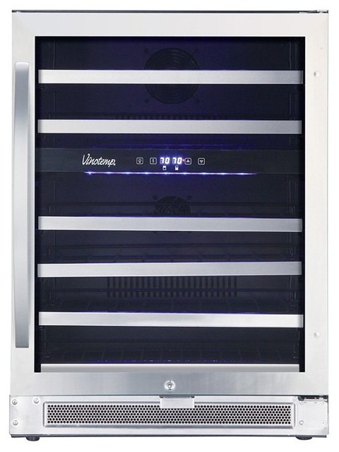46-Bottle Dual-Zone Connoisseur Wine Cooler, Stainless Finish.
