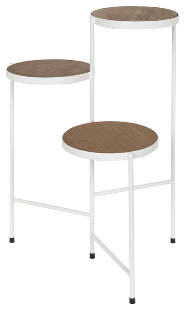 Fields Tri-Level Metal And Wood Plant Stand, Rustic Brown/white.