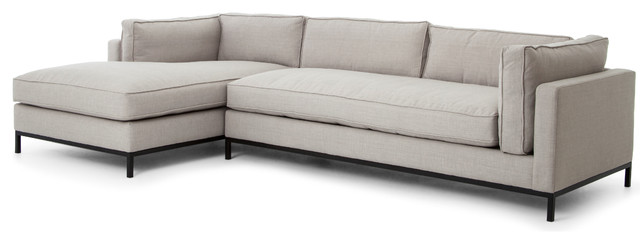 Diorama Modern Classic Charcoal Left Arm Chaise Sectional Sofa ...