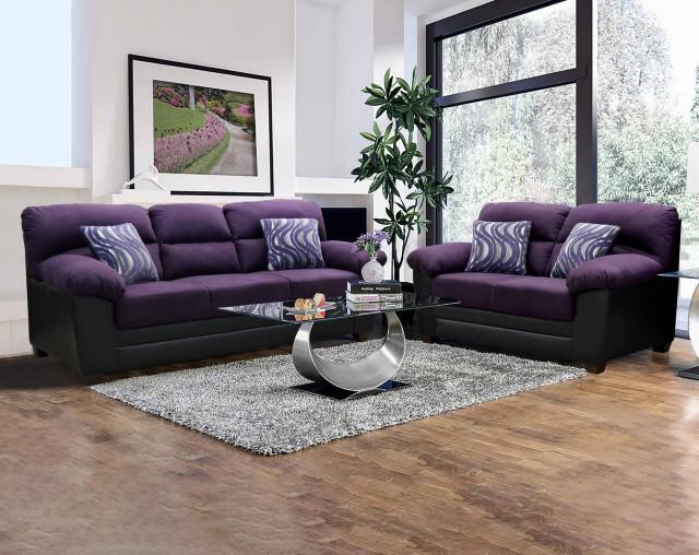 Peralta Purple Sofa Loveseat Living, Purple Living Room Furniture