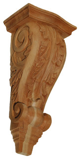 Hand-Carved Acanthus Corbel, Cherry