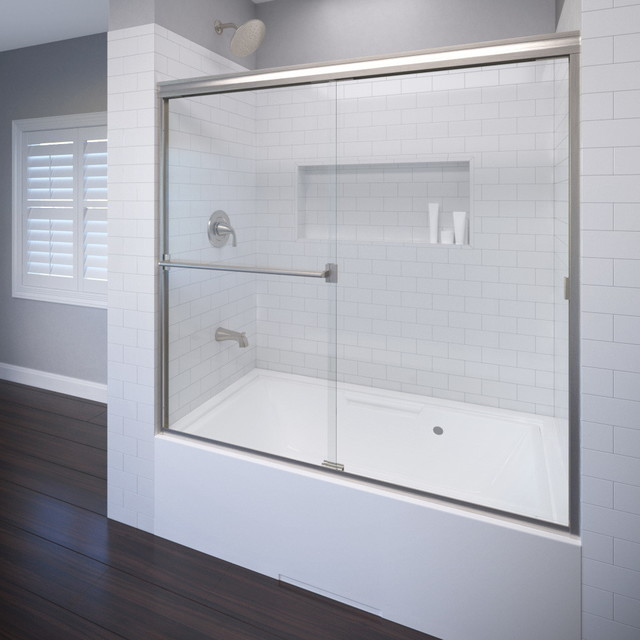 """Classic Semi-Frameless Sliding Tub Door, Fits 56-60"""", Clear, Brushed Nickel"""