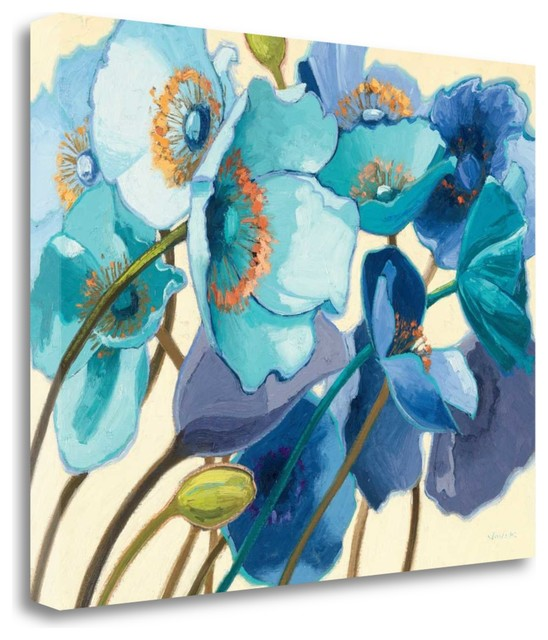 """""""le Pavots Bleu"""" By Shirley Novak, Giclee Print On Gallery Wrap Canvas."""