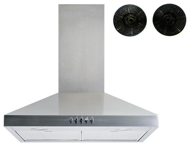 """Winflo 30"""" 400 Cfm Convertible Wall Mount Range Hood With Carbon Filters"""