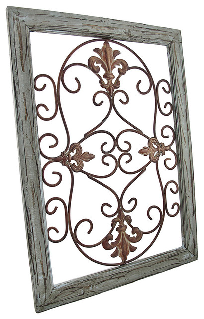 Distressed Wall Decor distressed wooden green frame wrought iron fleur de lis wall decor