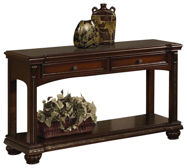 Transitional Cherry 2 Drawer Accent Sofa Console Table W/ Bottom Shelf Bun  Feet Console
