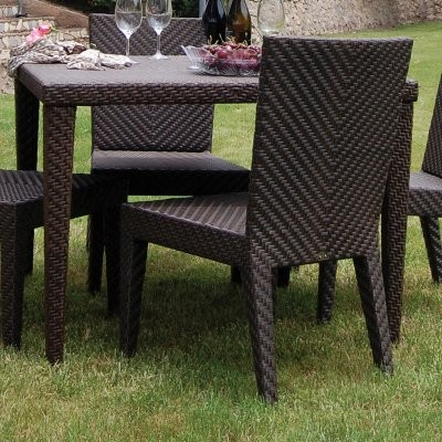 Hospitality Rattan Soho 40 In. Square Woven Patio Dining Table   Rehau  Fiber Jav