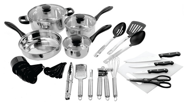 Gibson 30-Piece Total Kitchen Cookware & Kitchen Tool Combo Set.