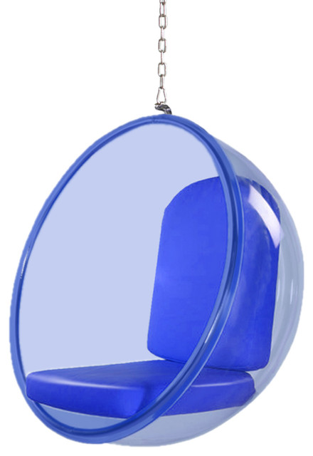 Modern Contemporary Urban Living Lounge Hanging Swing Chair, Blue, Faux Leather by America Luxury