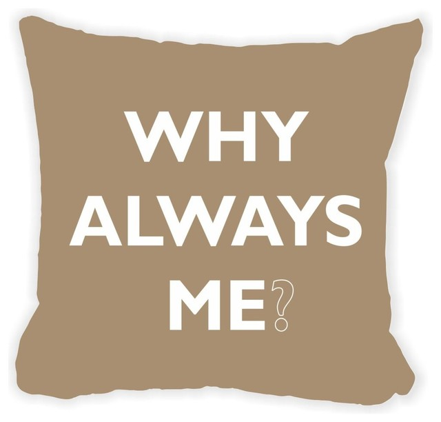 Brown Microfiber Throw Pillows : Rikki Knight LLC - Why Always Me Brown Microfiber Throw Pillow 16