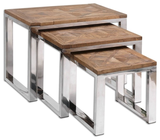 Uttermost hesperos nesting tables contemporary coffee for Modern nest of coffee tables