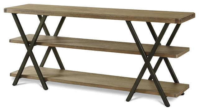 French Industrial Oak Wood And Metal Media Console Rustic