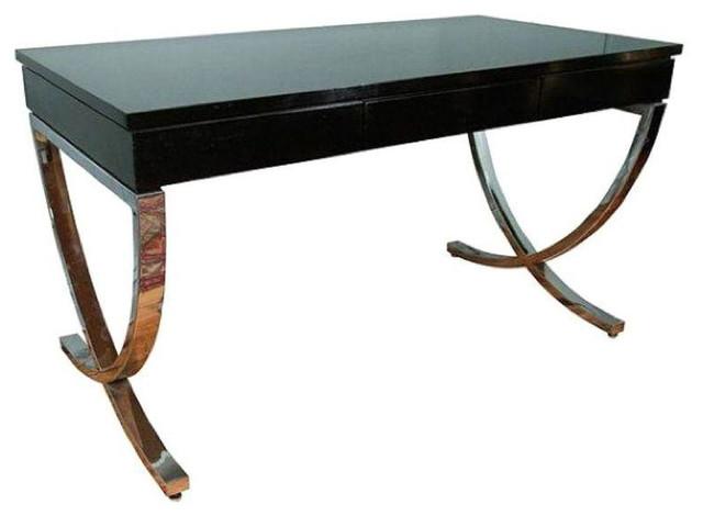 black lacquer and chrome writing desk or console 3 795 est rh houzz com black lacquer secretary desk black lacquer desk accessories