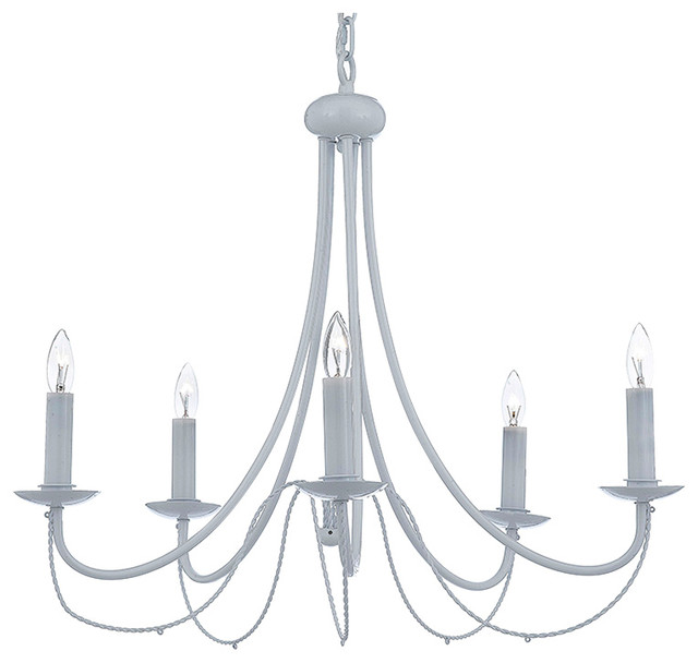 5-Light White Wrought Iron Chandelier Country French