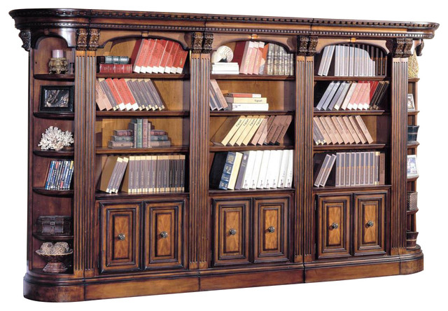 Parker House Huntington 5 Piece Library Bookcase Wall, Vintage Pecan