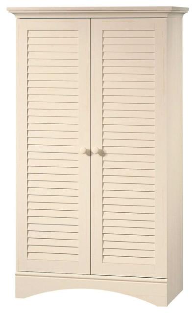 Louver 2-Door Storage Cabinet Bed Bath Armoire Wardrobe, Antique ...