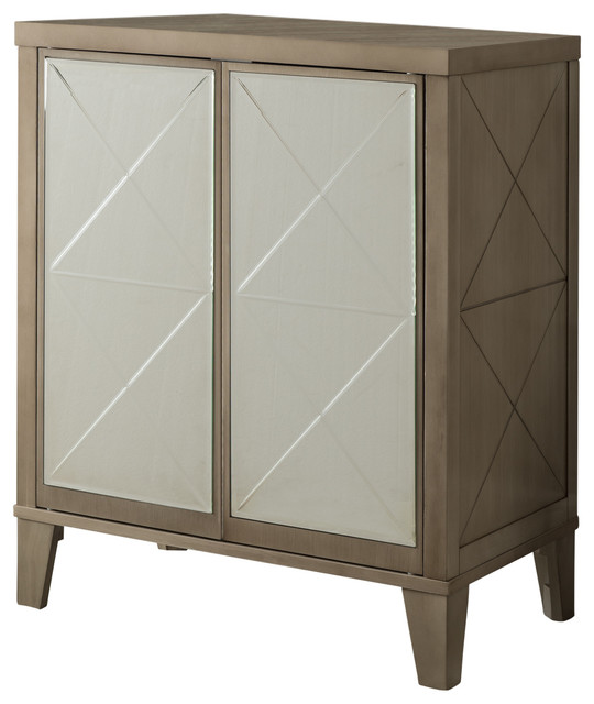 Dickson Wood Accent Table With Mirrored Storage Doors, White.