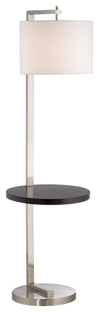 1 Light Standard Bulb Floor Lamp In Brushed Nickel-Brushed Steel.