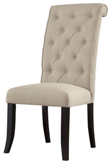 D530-01 Tripton Dining UPH Side Chairs, Set of 2, Linen