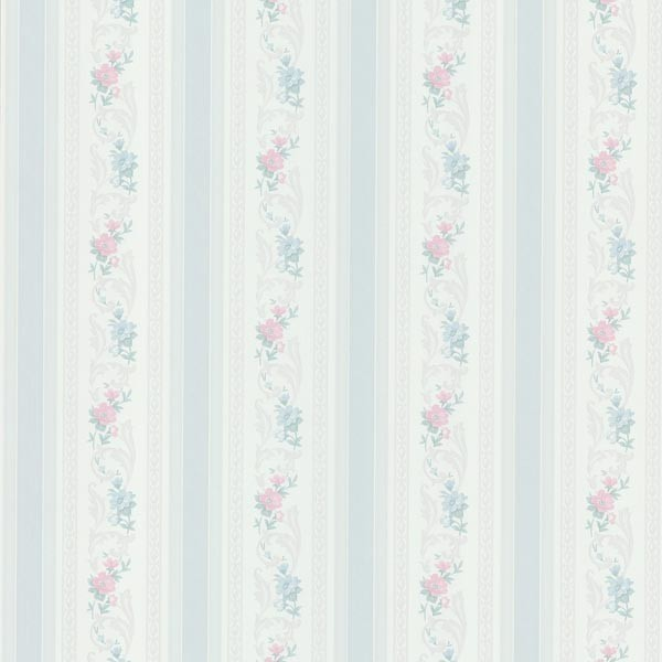 Nicola Light Blue Scrolling Floral Stripe Wallpaper