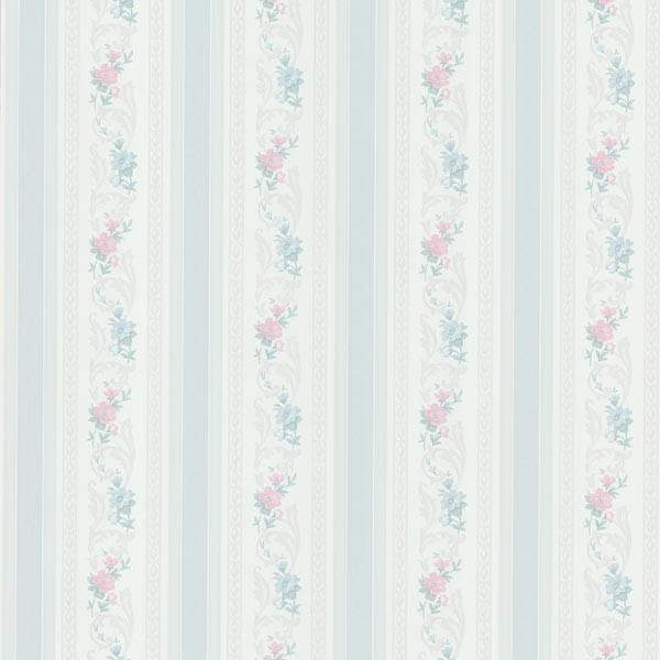 Nicola Light Blue Scrolling Floral Stripe Wallpaper