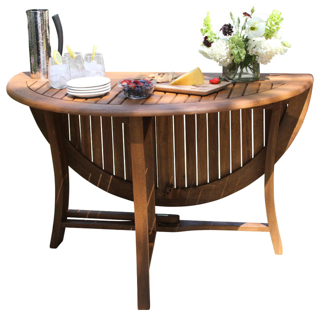 Round Eucalyptus Folding Table 48 Transitional Outdoor Dining Tables By Outdoor Interiors
