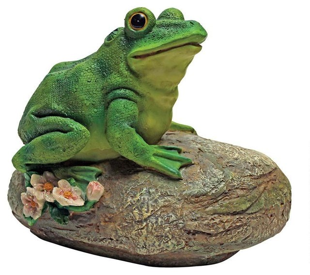 Frog Garden Rock Sitting Toad Statue Traditional Statues And Yard