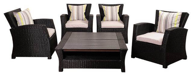 Atlantic Staffordshire 6-Piece Black Wicker Seating Set With Light Grey Cushions.