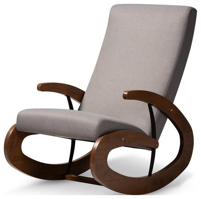 Pleasing Baxton Studio Kaira Gray Fabric Upholstered And Walnut Wood Rocking Chair Bralicious Painted Fabric Chair Ideas Braliciousco