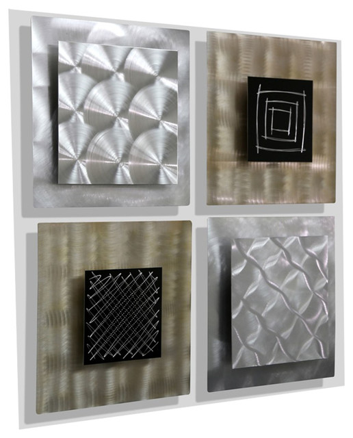 Altered Reality Metal Wall Art Accents By Jon Allen, Set Of 4.