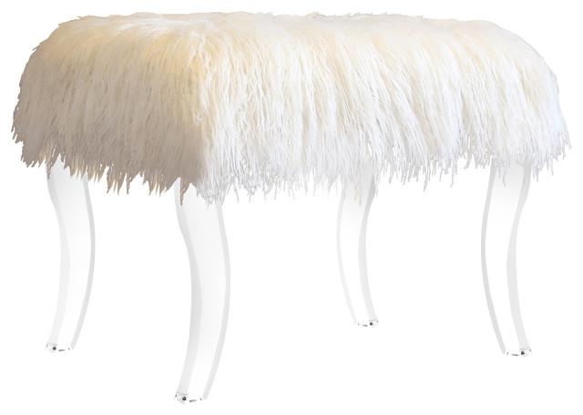 Cassandra Faux Fur Ottoman Bench, Acrylic, White.