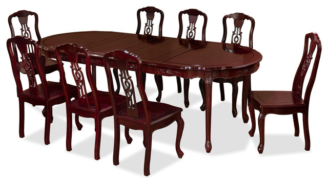96 Rosewood French Dining Set With, Wooden Dining Room Table And 8 Chairs