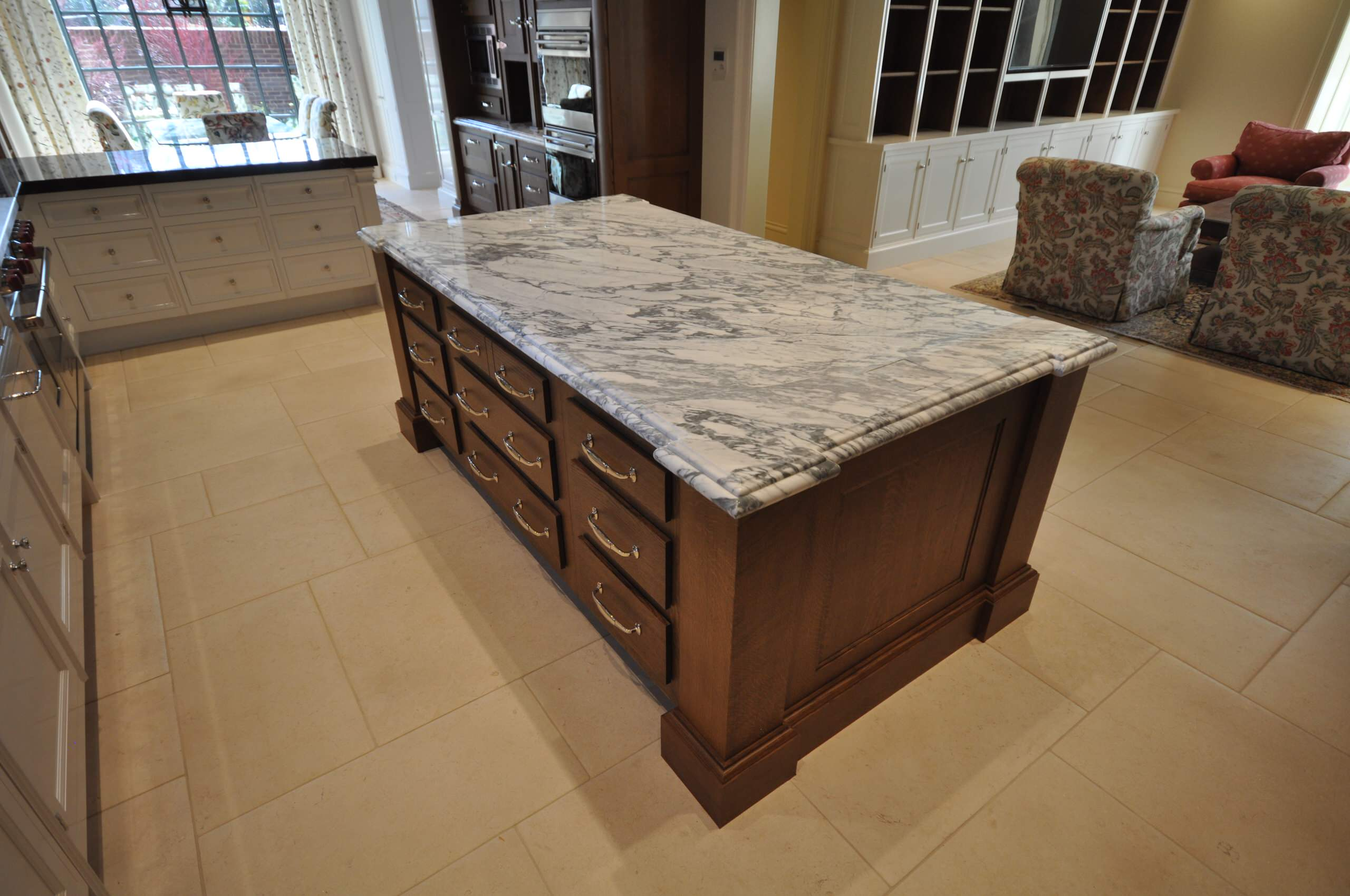 Refectory Kitchen with custom made hardware, hand painted with high gloss paint.