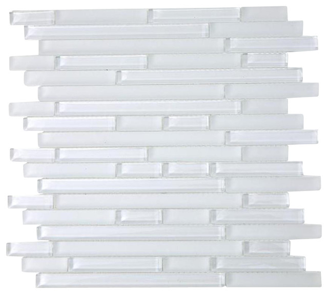 12x12 Tao Super White Glass Tile Contemporary Tile by Tile Bar