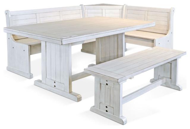 White Corner Breakfast Nook Set Farmhouse Dining Sets By San Carlos Imports Llc