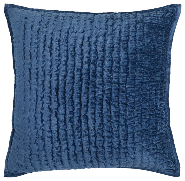 "Chloe Velvet 20"" Square Throw Pillow By Kosas Home, Blue."