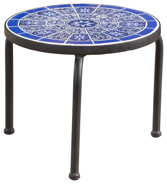Soleil Outdoor Blue And White Ceramic Tile Iron Frame Side Table.
