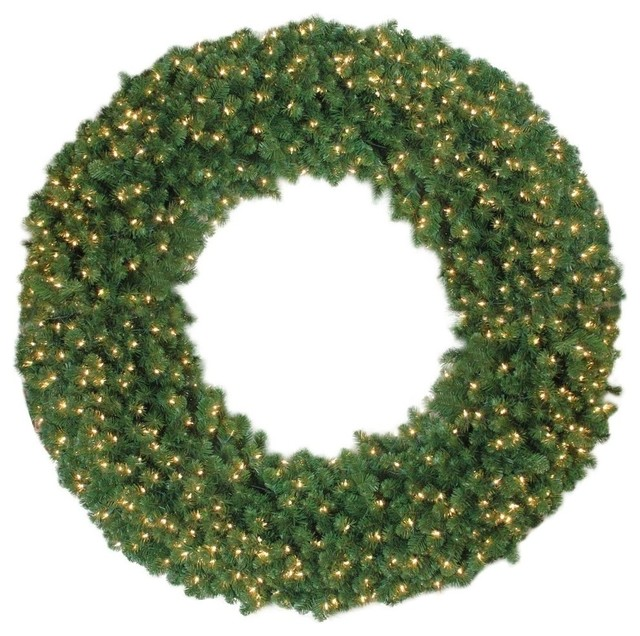 6&x27; Pre-Lit Artificial Olympia Pine Commercial Christmas Wreath, Clear Lights.