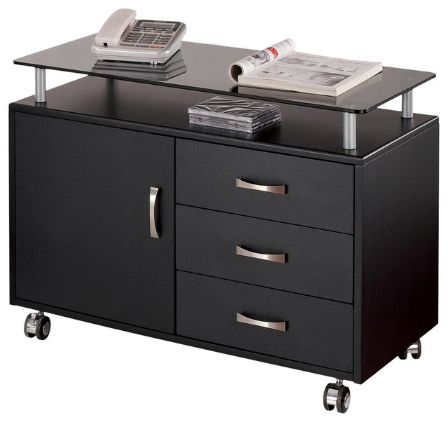 Techni Mobili Deluxe Rolling Glass Top Storage Cabinet Graphite  Transitional Filing Cabinets