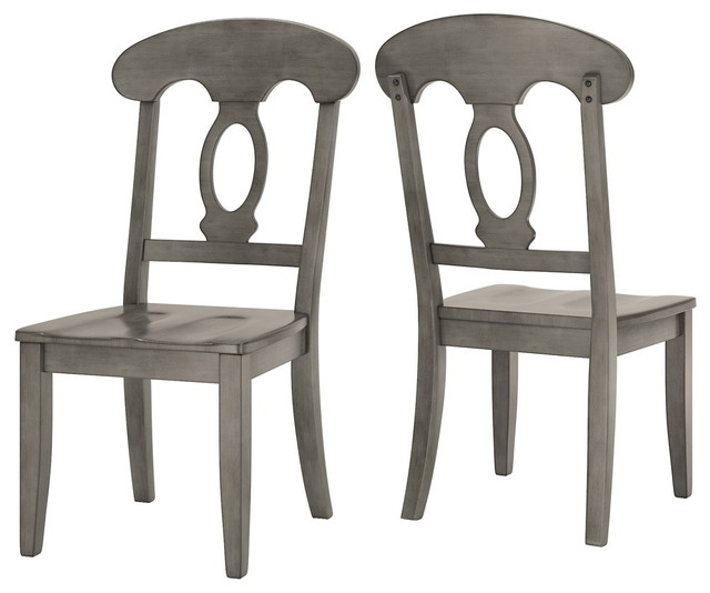 Arbor Hill Napoleon Back Wood Dining Chair, Set of 2, Antique Grey