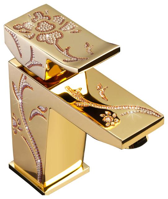 LUXURY® Swarovski Crystal Bathroom Faucet (Gold Single Handle ...